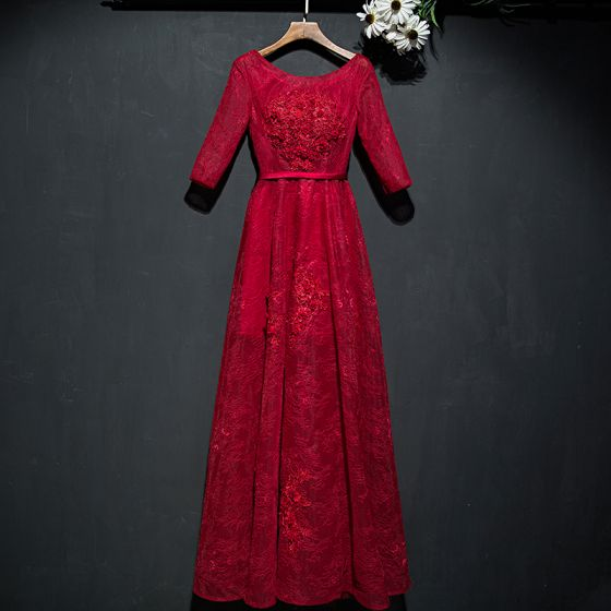 Piękne Czerwone Sukienki Wizytowe Sukienki Wieczorowe 2017 Koronkowe Kwiat Cekiny Wycięciem 1/2 Rękawy Długość Kostki Princessa