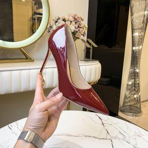 Moda Burgund Biuro OL Czółenka 2020 Skóry Lakierowanej 10 cm Szpilki Szpiczaste Czółenka