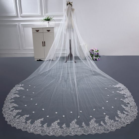 Chic / Beautiful White Cathedral Train Wedding Tulle Lace Backless Beading 3 m Wedding Veils 2018