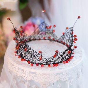 Unique Rouge Noire Cristal Métal Tiare 2017 Bijoux Mariage