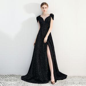Uroczy Czarne Sukienki Wieczorowe 2019 Princessa Koronkowe V-Szyja Frezowanie Kryształ Cekiny Kótkie Rękawy Bez Pleców Podział Przodu Trenem Sąd Sukienki Wizytowe