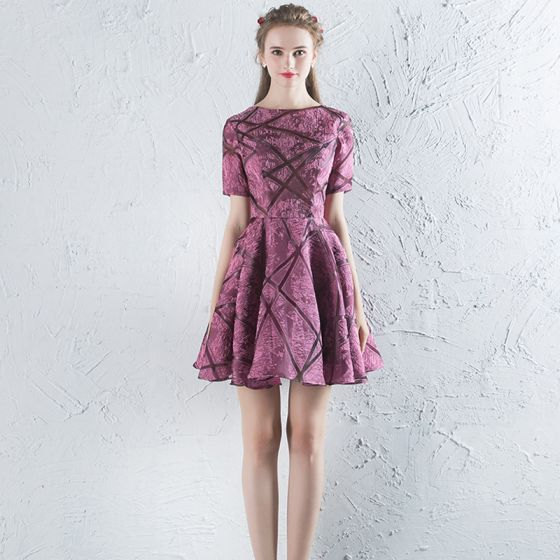 Chic / Beautiful Purple Party Dresses 1/2 Sleeves 2017 Evening Party Zipper Up Polyester Lace Embroidered U-Neck Cocktail Party
