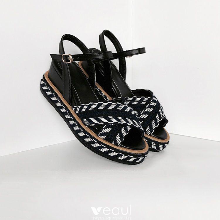 Modest / Simple Casual Black Womens Sandals 2017 Open / Peep Toe Flat Zebra Pattern 7 cm Sandals