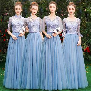 Betaalbare Blauw Bruidsmeisjes Jurken 2019 A lijn Appliques Kant Strik Gordel Lange Ruche Ruglooze Jurken Voor Bruiloft