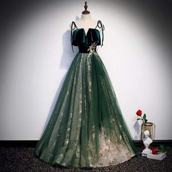 Hermoso Verde Oscuro Suede Vestidos de gala 2020 A-Line / Princess Spaghetti Straps Sin Mangas Glitter Tul Largos Ruffle Sin Espalda Vestidos Formales