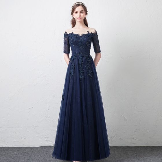 Modern / Fashion Navy Blue See-through Prom Dresses 2018 A-Line / Princess Scoop Neck 1/2 Sleeves Appliques Lace Beading Floor-Length / Long Ruffle Formal Dresses