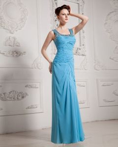 Chiffon Ruffle Beading Square Neck Floor Length Graduation Dress
