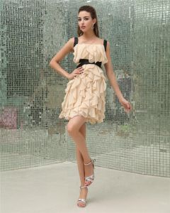 Chiffong Rufsa Kvadrat Armlos Backless Dragkedja Mini Festklänning