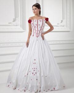 Satin Broderade Off-the-axeln Golv Langd Balklänning Brudklänningar Bröllopsklänningar