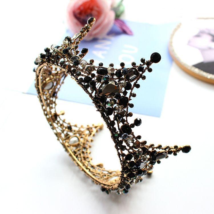Luxury / Gorgeous Bridal Jewelry 2017 Black Rhinestone Metal Tiara