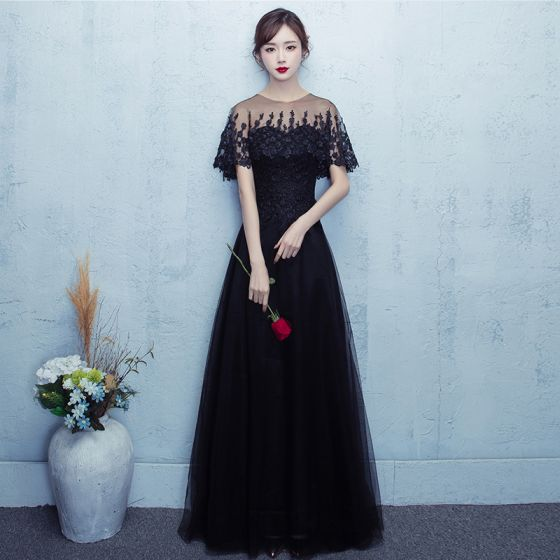 Chic / Beautiful Prom Dresses 2017 Black Floor-Length / Long A-Line / Princess Scoop Neck Short Sleeve Backless Lace Appliques Formal Dresses