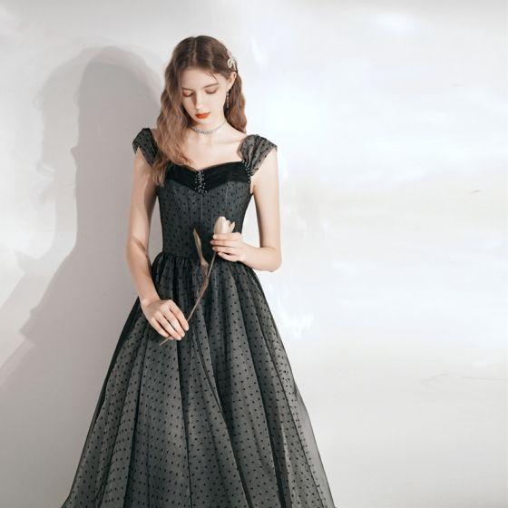 Elegant Black Spotted Homecoming Graduation Dresses 2021 A-Line / Princess Square Neckline Sleeveless Backless Floor-Length / Long Formal Dresses