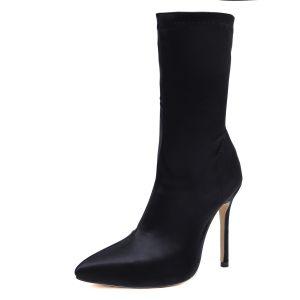 Moda Invierno Negro Ropa de calle Botas de mujer 2020 11 cm Stilettos / Tacones De Aguja Punta Estrecha Botas