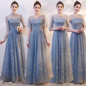 Chic / Belle Bleu Ciel Transparentes Robe Demoiselle D'honneur 2019 Princesse Étoile Paillettes Appliques En Dentelle Longue Volants Dos Nu Robe Pour Mariage