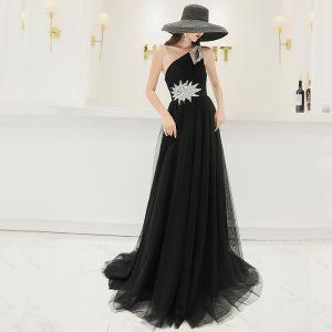 Elegant Black Evening Dresses  2019 A-Line / Princess One-Shoulder Sleeveless Rhinestone Sequins Sweep Train Ruffle Backless Formal Dresses