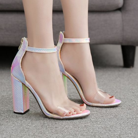 Affordable Blushing Pink Casual Womens Sandals 2020 Ankle Strap 10 cm Thick Heels Open / Peep Toe Sandals