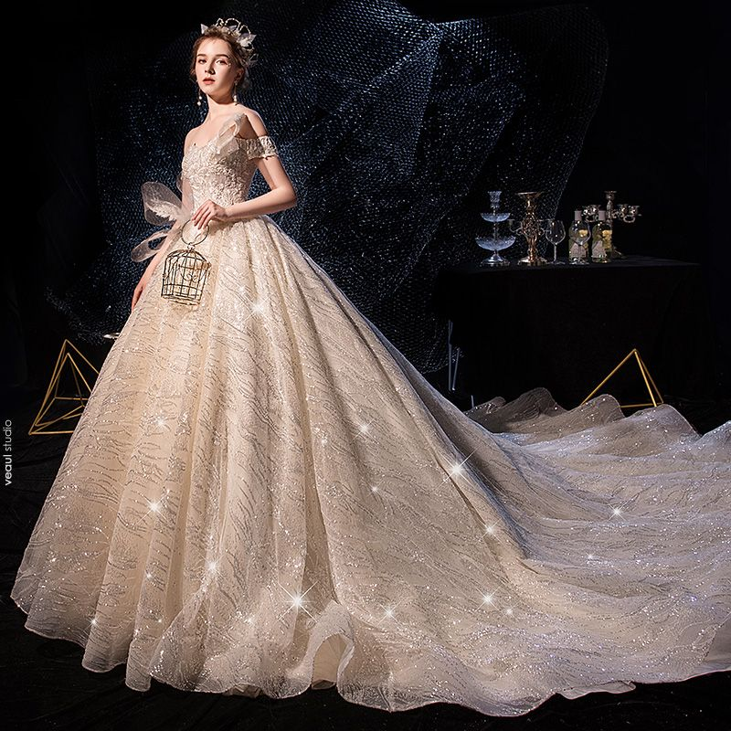 Sparkly Champagne Wedding Dresses 2019 Ball Gown Off-The-Shoulder Short Sleeve Backless Glitter Sequins Tulle Cathedral Train Ruffle