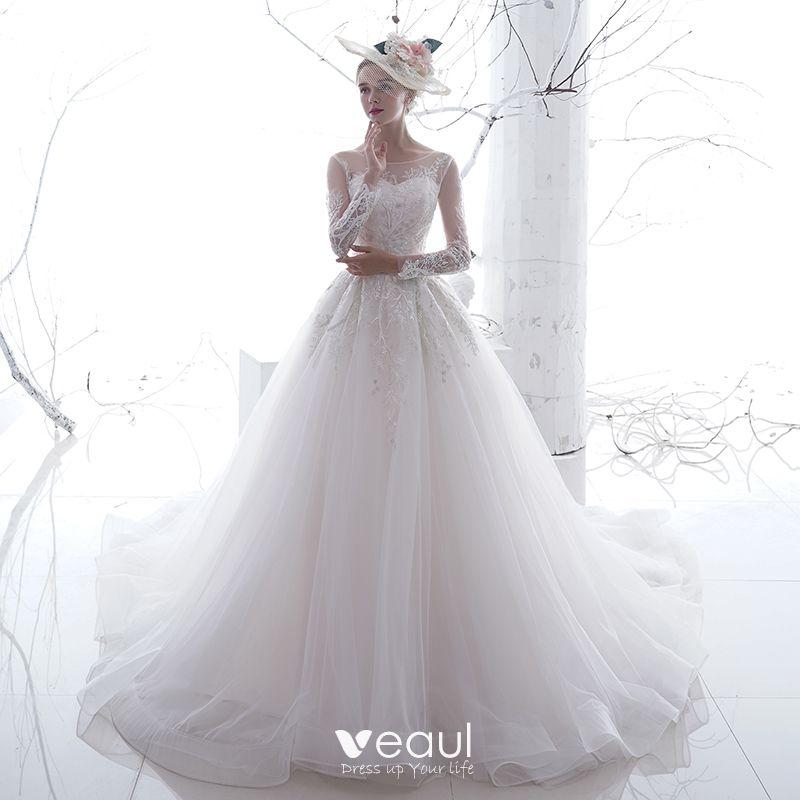 wholesale dealer eb883 d5856 Schöne Weiß Durchsichtige Brautkleider / Hochzeitskleider 2020 A Linie  Rundhalsausschnitt Lange Ärmel Rückenfreies Applikationen Spitze ...