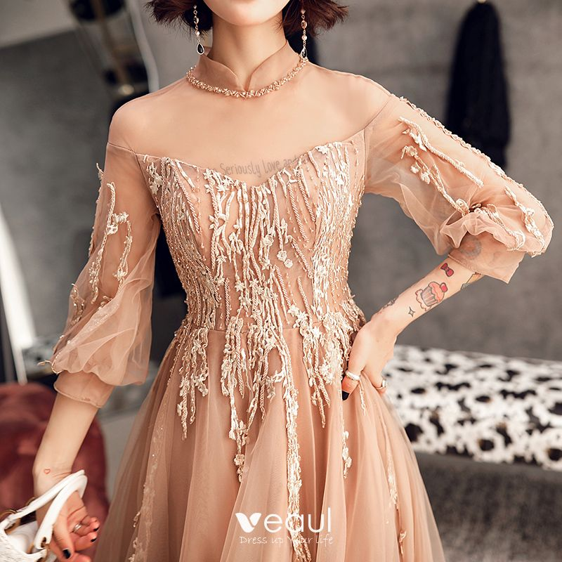 Elegant Champagne Evening Dresses  2019 A-Line / Princess High Neck Beading Pearl Lace Flower 1/2 Sleeves Backless Sweep Train Formal Dresses