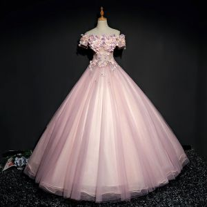Chic / Beautiful Pearl Pink Prom Dresses 2017 Ball Gown Lace Flower Pearl Rhinestone Off-The-Shoulder Backless Short Sleeve Ankle Length Formal Dresses