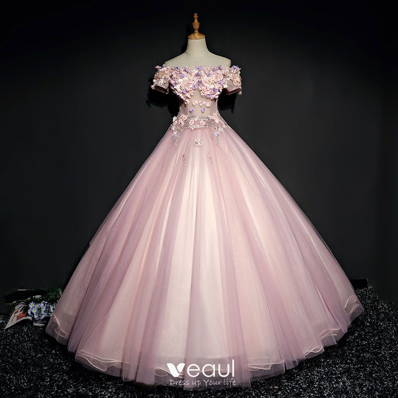 Ball Gown Lace Flower Pearl Rhinestone
