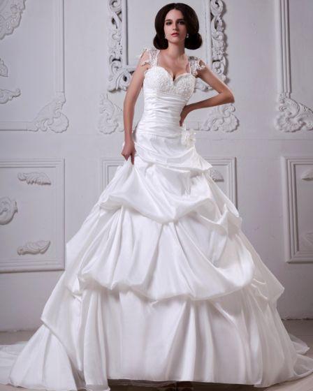 Stylowy Linke Sweatheart Satyna Wzburzyc Linii Katedra Suknia Balowa Suknie Ślubne Suknia Ślubna