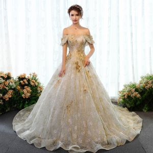 Luxury / Gorgeous Gold Wedding Dresses 2018 Ball Gown Glitter Lace Appliques Beading Rhinestone Pearl Off-The-Shoulder Backless Sleeveless Court Train Wedding