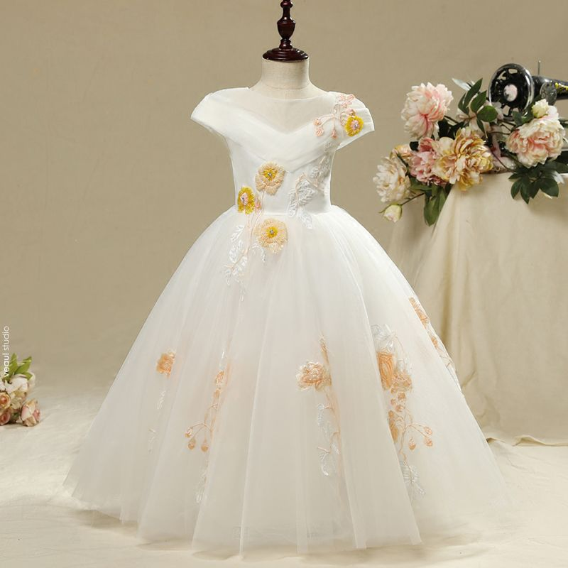 Chic / Beautiful Church Wedding Party Dresses 2017 Flower Girl Dresses White A-Line / Princess Floor-Length / Long Cascading Ruffles Scoop Neck Short Sleeve Embroidered Flower Beading