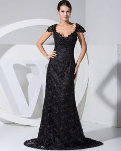 Lace Beading V Neck Sleeveless Zipper Court Train Evening Dress