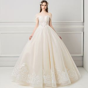 Elegant Champagne Wedding Dresses 2018 Ball Gown Lace Flower Beading Crystal Pearl Off-The-Shoulder Backless Sleeveless Floor-Length / Long Wedding
