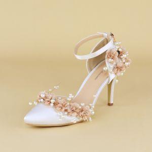 Stilig Vita Brudskor 2020 Pärla Blomma Ankelband 8 cm Stilettklackar Spetsiga Bröllop Klackskor