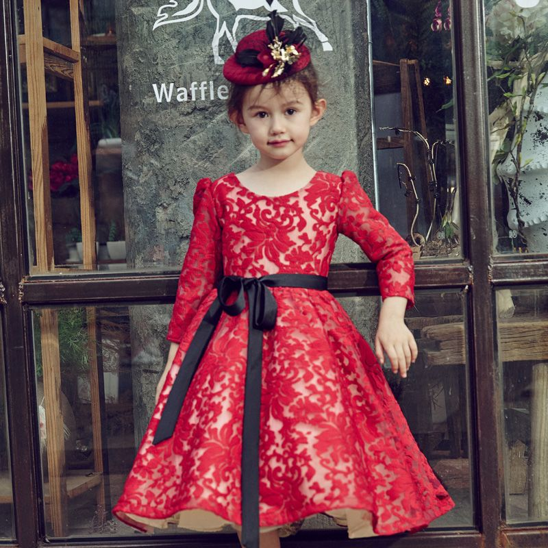 Chic / Beautiful Church Wedding Party Dresses 2017 Flower Girl Dresses Burgundy A-Line / Princess Tea-length Scoop Neck Long Sleeve Sash Lace
