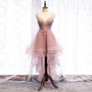 Chic / Belle Perle Rose Robe De Cocktail 2019 Princesse Bretelles Spaghetti Perlage Paillettes En Dentelle Fleur Sans Manches Dos Nu Asymétrique Robe De Ceremonie