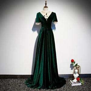 Chic / Beautiful Dark Green Velour Evening Dresses  2020 A-Line / Princess See-through Scoop Neck Short Sleeve Beading Sweep Train Ruffle Backless Formal Dresses