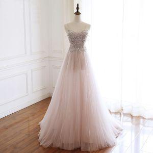 Luxury / Gorgeous Pearl Pink Handmade  Beading Evening Dresses  2020 A-Line / Princess Spaghetti Straps Rhinestone Sleeveless Backless Sweep Train Formal Dresses