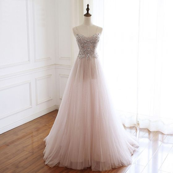 Luxury / Gorgeous Pearl Pink Handmade  Beading Evening Dresses  2020 A-Line / Princess Spaghetti Straps Rhinestone Sleeveless Backless Sweep Train Formal Dresses