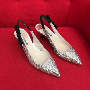 Sparkly Silver Evening Party Womens Shoes 2018 Sequins Buckle Bow 5 cm Stiletto Heels Pointed Toe High Heels