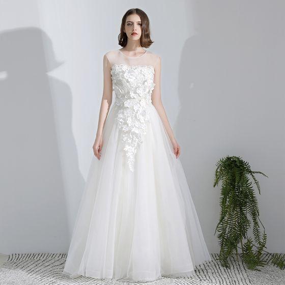 Eenvoudige Witte Lange Huwelijk A lijn U-hals Tule Appliques Ruglooze Kralen Trouwjurken 2018
