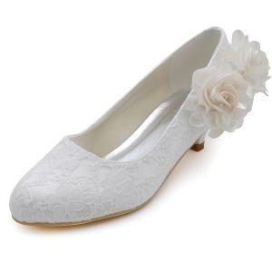 Licht Süßen Spitzen Blumen Hochzeit Schuhe Flache Schuhe Dameneinzel Schuhe Patty