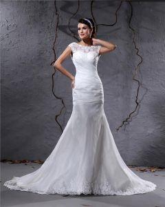 Elegantes Garn Charmeuse Applique Faltete Bateau Bodenlange Mermaid Brautkleid