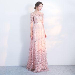 Chic / Belle Robe De Soirée 2017 Princesse En Dentelle Paillettes Ceinture Encolure Dégagée 1/2 Manches Longue Robe De Ceremonie