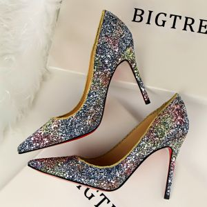 Affordable Gradient-Color Evening Party Pumps 2019 Sequins 10 cm Stiletto Heels Pointed Toe Pumps