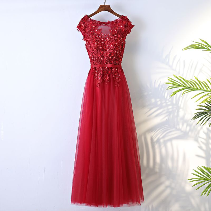 Chic / Beautiful Red Formal Dresses 2017 A-Line / Princess Lace Flower Beading Bow Backless Scoop Neck Short Sleeve Ankle Length Evening Dresses