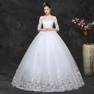 Classy White Pregnant Wedding Dresses 2019 Ball Gown Scoop Neck Appliques Lace 1/2 Sleeves Backless Floor-Length / Long