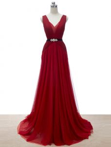 A-line Deep V-neck Glitter Rhinestone Sash Burgundy Tulle Evening Dress