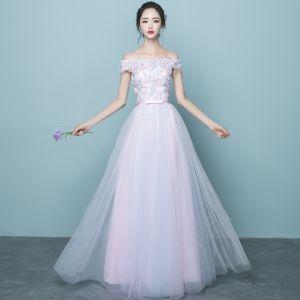 Chic / Belle Rose Bonbon Robe Demoiselle D'honneur 2017 Princesse De l'épaule Manches Courtes Appliques Fleur Paillettes Noeud Ceinture Longue Volants Robe Pour Mariage