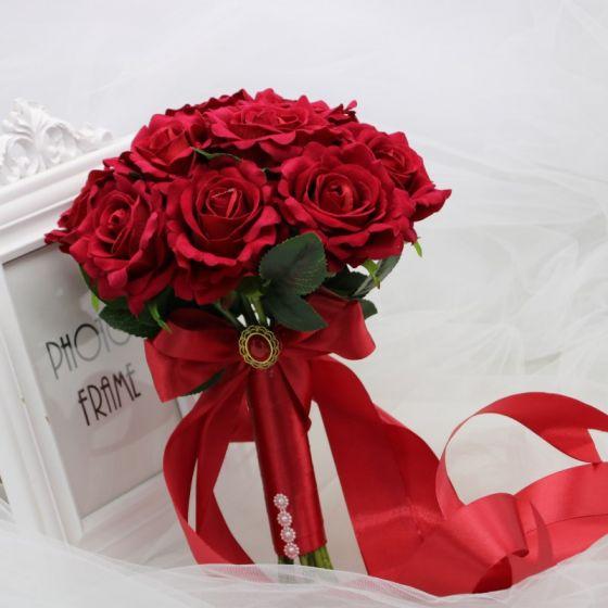Unique Burgunderrot Brautstrauß 2019 Charmeuse Hochzeit Blumen