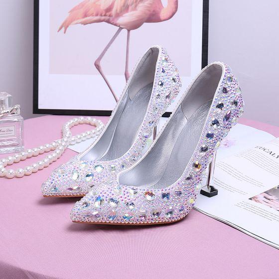 Brillante Multi-Colors Rhinestone Zapatos de novia 2020 9 cm Stilettos / Tacones De Aguja Punta Estrecha Boda Tacones
