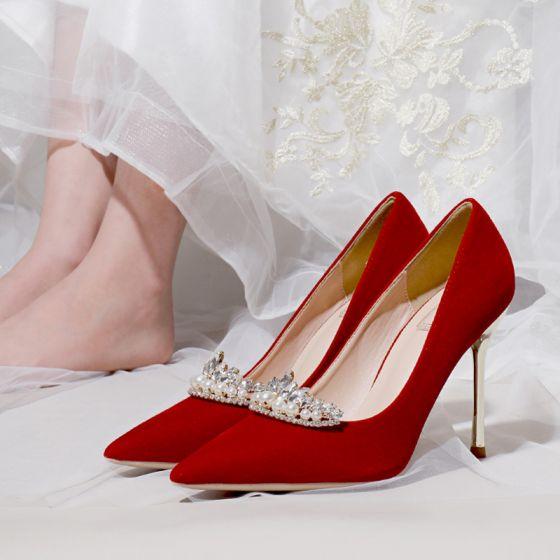 Chic / Belle Rouge Mariage Faux Diamant Chaussure De Mariée 2021 10 cm Talons Aiguilles À Bout Pointu Escarpins Talons Hauts