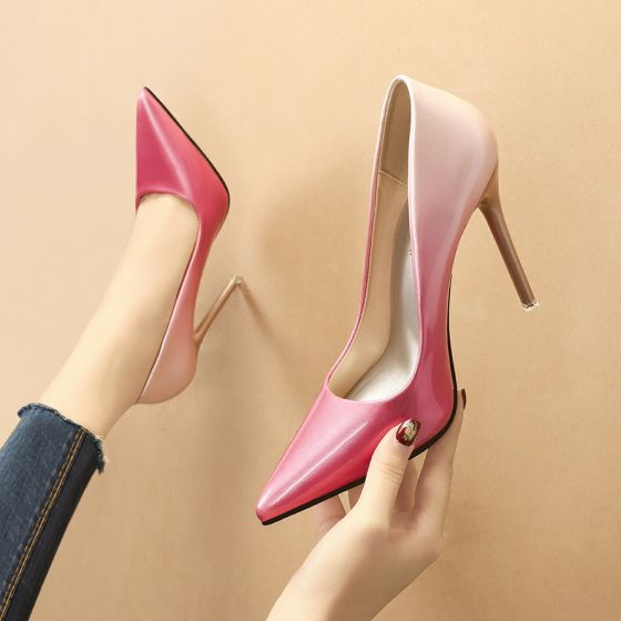 Chic / Beautiful Gradient-Color Candy Pink OL Office Pumps 2020 Patent Leather 11 cm Stiletto Heels Pointed Toe Pumps